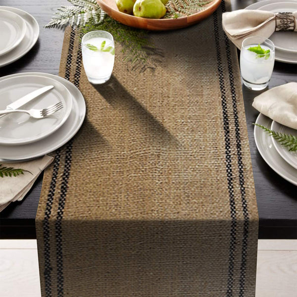 "AAYU Premium 108"" Long and 12"" Wide Jute Burlap Table Runner, Fringed Drop Edges 