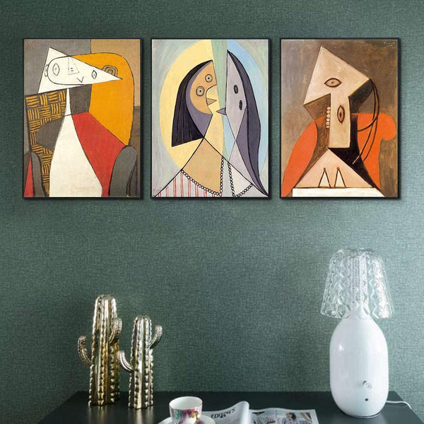 "INVIN ART Framed Canvas Art Combo Painting 3 Pieces by Pablo Picasso Wall Art Series#19 Living Room Home Office Decorations(Black Slim Frame,20""x24""Each Piece)"