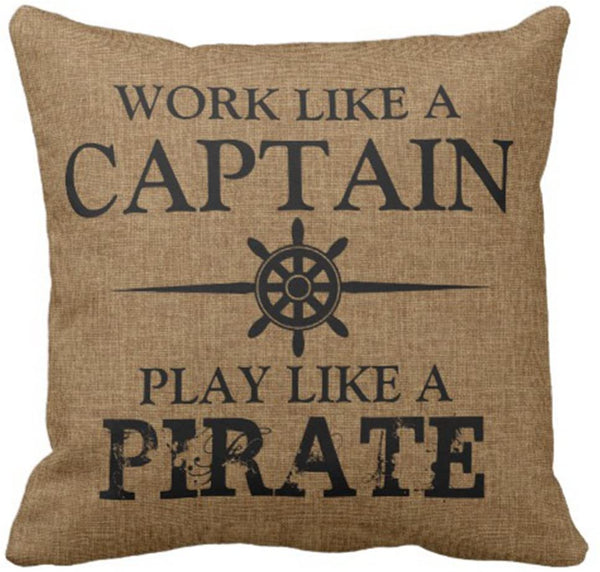 Emvency Throw Pillow Cover Funny Pirates Work Like Captain Play Pirate Boat Decorative Linen Pillow Case Home Decor Square 16 x 16 Inch Pillowcase