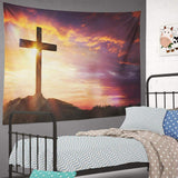 Summor Tapestry Wall Hanging Jesus Christ Cross Easter Sunrise Faith Christian Home Decorations Living Room Bedroom Dorm 80X60 Inches