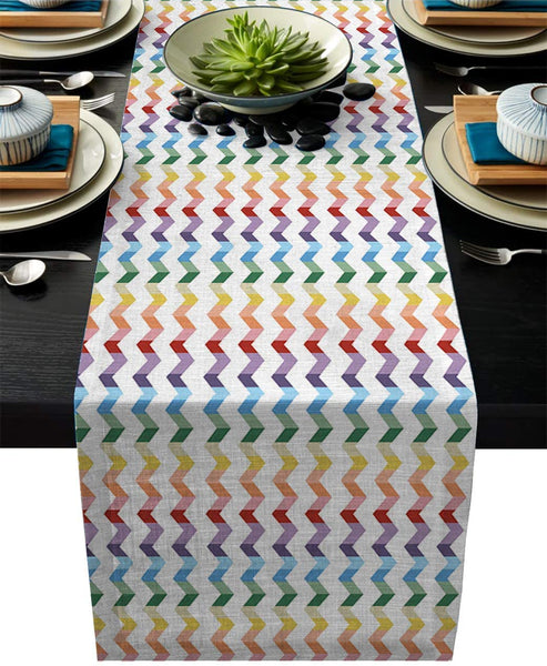 "Womenfoucus Burlap Table Runner, Rainbow Ripples Farmhouse Table Runner for Coffee Table, Dining Table Cover Dresser Entryway Spring Table Runner Party Decorations 13""x90"""
