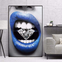 zxianc Modern Poster Art Sexy Blue Lips Diamond Bite Wall Oil Painting Canvas Living Room Bar Office Home Decoration Frameless Painting 6090Cm