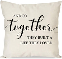 PANDICORN Farmhouse Pillow Covers 18x18 with Quotes Home The Story of Who We are for Home Décor, Rustic Black and Cream Throw Pillow Cases for Living Room Bedroom