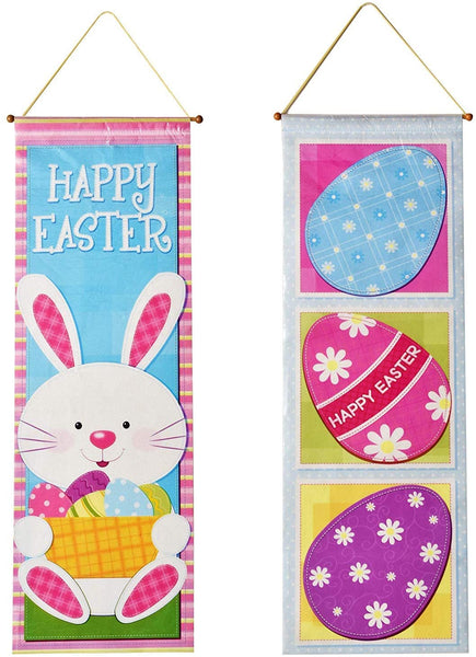 2 Easter Hanging Decorations Eggs Ornaments Kitchen Yard Sign for Outdoor Decor Bunny Decorative Wall Paper Party Door Ornament Banner Supplies Hang at Home Multicolor Poster by Gift Boutique