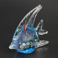 Hophen Murano Angel Fish Art Glass Blown Handmade Sea Animal Figurine Sculpture Home Decor Collectible Statue Paper Weight Gift Ornament (Small Green)