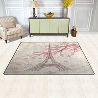 Yochoice Non-slip Area Rugs Home Decor, Vintage Paris Eiffel Tower with Pink Cherry Blossom Floor Mat Living Room Bedroom Carpets Doormats 60 x 39 inches