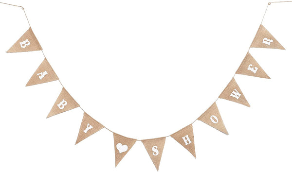Sparkle and Bash Baby Shower Pennant Banner Burlap Jute, 11.5 Feet