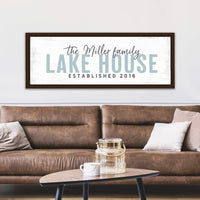 Pretty Perfect Studio Custom Lake House Sign, Personalized Family Lake Home Decor for Lake Life Living Room| 12x36 Ready-to-Hang Canvas Wall Art