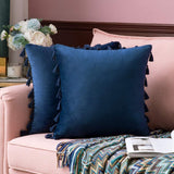 MIULEE Pack of 2 Velvet Soft Solid Decorative Throw Pillow Cover with Tassels Fringe Boho Accent Cushion Case for Couch Sofa Bed 18 x 18 Inch Navy Blue