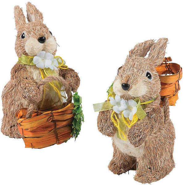 Fun Express Rustic Easter Sisal Bunnies (Set of 2 Figurines) Farmhouse Home Decor