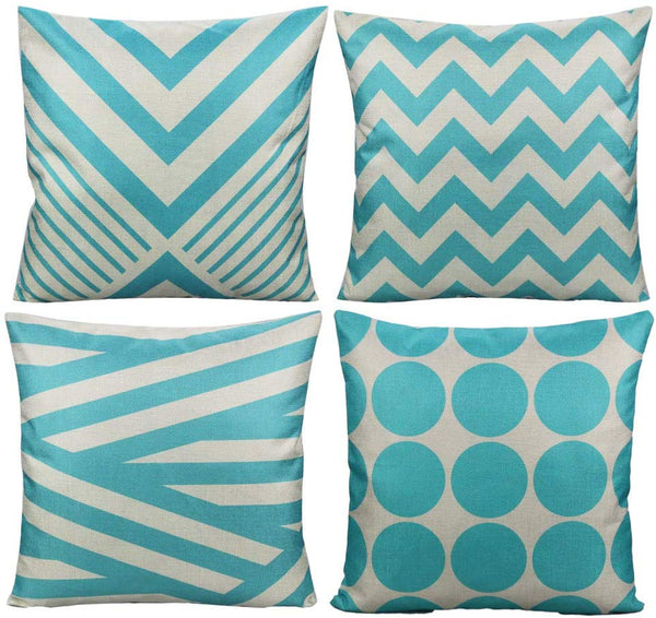 All Smiles Aqua Decorative Throw Pillow Cases Sky Blue Outdoor Cushion Covers Home Decor Accent Square 18 x 18 Set of 4 for Couch Sofa Patio Bed Living Room,Modern Geometry Decorations