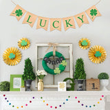 TEENCOO Lucky Banner Burlap St. Patrick's Day Decorations, Four Leaf Plant Shamrock Garland Banner Hanging Sign Irish Saint Patty's Day Party Favor Supplies Home Decor