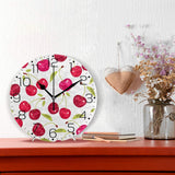 ZZAEO Seamless Pattern with Cherry Berries Wall Clock Fashion Frameless Decorative Clock for Kitchen Bedroom Living Room Classroom Home Decor - Round Shape