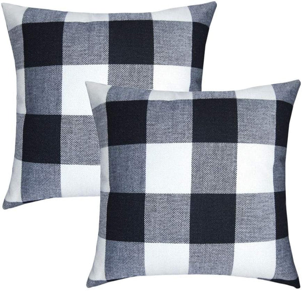 "Buffalo Check Throw Pillow Cover - Plaid Farmhouse Decor Square Decorative Pillow Case, Burlap Rustic Pillows Sofa Bedroom Living Room Outside 2 Pack (18""x18""), Black and White"