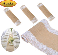 boyspringg Burlap Table Runners with Lace Vintage Table Cloth Rustic Natural Jute Country Wedding Party Dining Table Decoration Farmhouse Decor 12X108 (4)