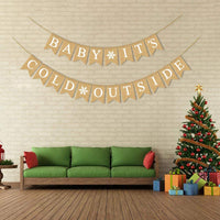 Rainlemon Jute Burlap Baby It's Cold Outside Banner Winter Baby Shower Birthday Diaper Party Garland Mantel Fireplace Decoration