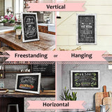 TenXVI Designs Hanging or Freestanding Vertical/Horizontal Magnetic Rustic Chalkboard Sign for Tabletops, Weddings, Farmhouse Decor and Rustic Home Decor (11x17, White)