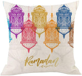 ThsiJJ Ramadan Decoration Cushion Cover Gold Moon Star Eid Mubarak Festive Throw Pillow Cover