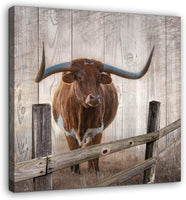 Rustic Wall Decor Canvas Wall Art of Texas Longhorns for Bathroom Bedroom Wall Decoration Animal Country Farmhouse Themed Print Picture Artwork Ready to Hang for Kitchen Rustic Home Decor Size 14x14