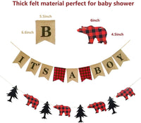 Lumberjack Baby Shower Banner, Lumberjack Theme Banner and It's a Boy Banner Garland Party Supplies for Baby Shower & Kid Birthday Party Decoration