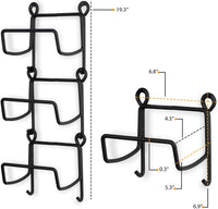 Wallniture Solid Wrought Iron Metal Towel Rack Holder – Wall Mount Rustic Home Decor - Bathroom Organizer Black Set of 3 (Straight Finish)