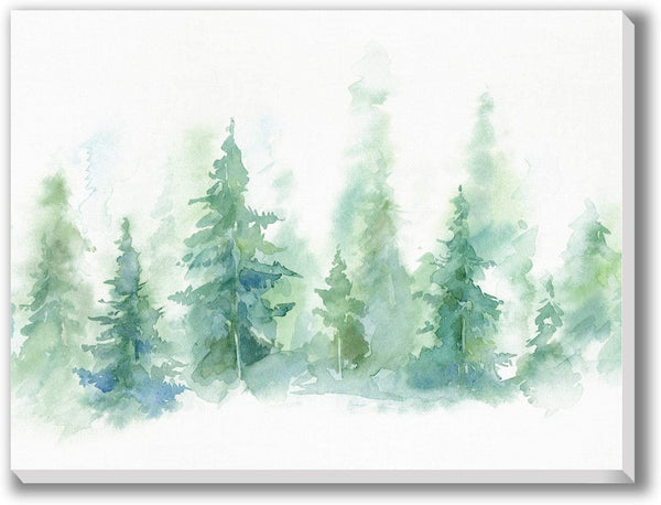 "Texture of Dreams Pine Tree Forest Watercolor Painting on Canvas Print Wall Art Abstract Painting Artwork Giclee Printing Wall Decor Ready to Hang Home Decoration for Living Room Bedroom (18"" x 24"")"