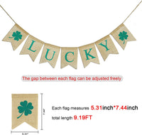 Konsait St.particks Day Decorations, St.Patrick Banner Burlap - Luck of Irish Lucky Bunting Garland-Irish Shamrock Bunting Decoration Flags for Saint Patty's Day Party Favor Supplies Home Decor