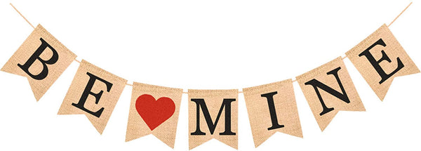 Valentine's Day Decorations BE MINE Burlap Banner Valentines Day Bunting Banners Decor for Homes, Stores, and Schools etc.