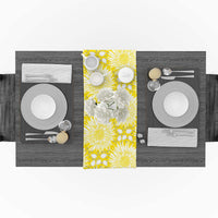 Beauty Decor Linen Burlap Table Runner Sunflower Table Runners 13 x 90 inch Tablerunner for Indoor Outdoor Events Kitchen Decorations, Everyday Use - Yellow Flower Vibrant Nature Elements Simple Art