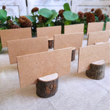 Supla 20 Pcs Rustic Wood Place Card Holders Circular Table Numbers Holder Stand Wooden Bark Memo Holder Card Photo Picture Note Clip Holders and Kraft Place Cards Bulk Wedding Party Table Number Sign