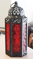 Mid Size Table/hanging Red Hexagon Moroccan Candle Lantern Holders