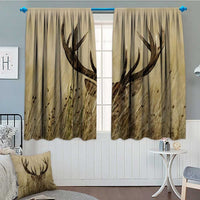 "SeptSonne-Home Antler Decor Thermal/Room Darkening Window Curtains Whitetail Deer Fawn in Wilderness Stag Countryside Rural Hunting Theme Decor Curtains by 72""x63"" Brown Sand Brown"