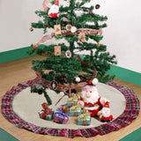 Christmas Tree Skirt Burlap Red Plaid Base Cover Decoration Multiple Sizes