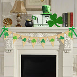 Glitter Shamrock Garland Banner Burlap | Rustic St. Patrick's Day Shamrock Garland | St. Patrick's Day Decorations | Shamrock Clover Garland Banner | Irish Lucky Day Home Outdoor Hanging Decor