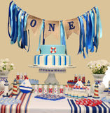 Baby 1st Birthday Boy Decorations with Crown High Chair Banner Cake Smash Party Supplies - Happy Birthday ONE Burlap Banner, No.1 Crown, Glitter Cake Topper