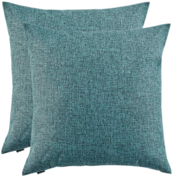 Artcest Set of 2, Decorative Linen Bed Throw Pillow Case, Sofa Durable Modern Stylish, Comfortable Cushion Cover for Couch (Peacock Blue, 18x18 inches)