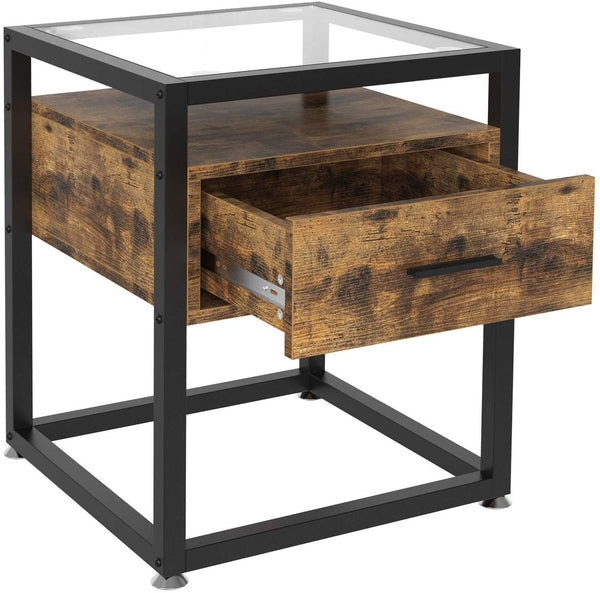 IRONCK Industrial Side Tables Living Room, Nightstand Bedroom with Drawer and Rustic Shelf, Wood and Tempered Glass End Table, Rustic Home Decor