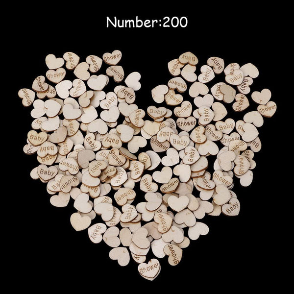 OHTOP 200Pcs Rustic Wooden Heart Table Confetti Party DIY Craft Decoration (Baby Shower)