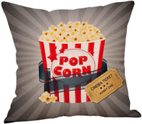Steven.Smith Movie Theater Cinema Personalized Cotton Linen Square Burlap Decorative Throw Pillow Case Cushion Cover 18 Inch (4 Pack Cinema Popcorn)