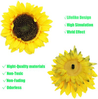 cn-Knight Artificial Flower 18pcs Three Different Sizes of Silk Sunflower Heads Real Looking Fake Sunflower for Hat Trim Cake Flower Home Décor Flower Wall Fence Wreath Wedding Baby Shower(Yellow)
