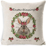Easter Pillow Covers Rabbit Flower Bunny Eggs Car Bike Pillow Covers Cushion Cases Pillowcases for Home Office Car Decorative, Sofa Bed Chair Decorations set of 4, Spring Color Design Charming Pillow