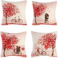 amosry 4pcs Throw Pillow Cover Case Love Style Linen Cushion Covers for Couch/Sofa/Kitchen/Car/Boy Girls Bedroom Livingroom 18x18 inch Pillow Case (18')
