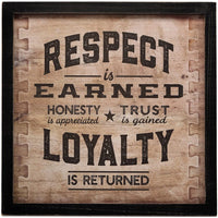 "Open Road Brands ""Respect is Earned Loyalty is Returned MDF Black Wood Framed Wall Art - an Officially Licensed Product Great Addition to Add What You Love to Your Home/Garage Decor"