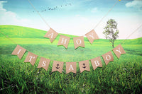 "Junxia""ahoy It's a boy"" Natural Bunting Burlap Flag Banner/Baby Shower Newborn Baby Celebration Baby Boy Birth"