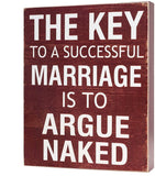 Yankario Rustic Home Decor Box Sign, Funny Couples Gifts Farmhouse Room Decor for Desk or Wall About 8×10 inch, The Key to a Successful Marriage is to Argue Naked