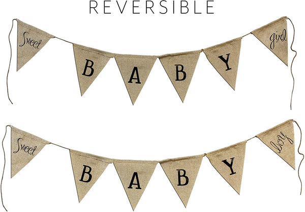 Cornucopia Reversible Baby Shower Banner (It's a Boy/It's a Girl); Rustic Burlap Style