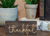 P. Graham Dunn Thankful Script Design 6 x 2.5 Inch Solid Pine Wood Farmhouse Stick Sign