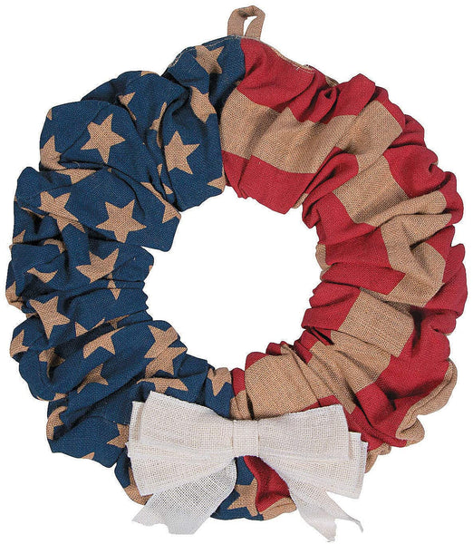 Fun Express Farmhouse Patriotic American Flag Burlap Wreath (16 Inch Diameter).Fourth of July Rustic Home Decor