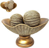 Gold Home Decor Bowl Tray and Set of 3 Orb Balls - Coffee Table Console Mantle Decor Centerpiece with Spheres Accents for Living Room or Dining Table, Gift Boxed