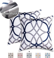 Velvet Plush Pillows Cover 2 Pack Soft Print Pillow Cases Decorative Square Throw Pillow Covers Set Cushion Cases Pillowcases for Sofa Bedroom Car 18 x 18 Inch, Dark Denim and Grey Geo Pattern